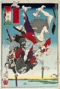 月岡芳年 Yoshitoshi Tsukioka『犬塚信乃 犬飼見八』(1872)