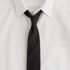 J Crew charcoal shadow-stripe tie.