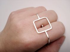 Square - Double Finger Ring Two Finger Ring - Modern - Sterling Silver 925 - Made to Order