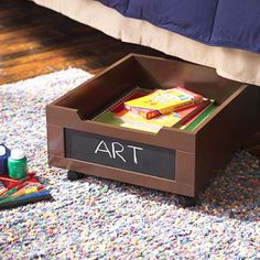 under bed drawers with chalkboard labels