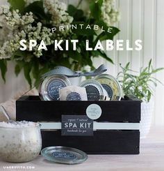 What a fantastic gift! Create a natural spa kit with homemade spa treatments topped off with these free printable labels.