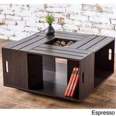 Add artisan-inspired style to your living room decor with this wine crate coffee table. This unique table features four-sided open shelf storage with keyhole accents and a center flip box tray insert. Diy Coffee Table, Decorating Coffee Tables, Coffee Table With Storage, Coffee Table Design, Crate End Tables, Sofa End Tables, Crate Desk, Crate Bench, Crate Storage
