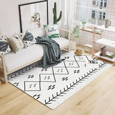 Nordic style geometric pattern carpet living room carpet, rectangle ground mat , Pastoral home decoration floor mat Bedroom Carpet, Living Room Carpet, Carpet Decor, Rugs On Carpet, Living Room Shop, Rugs In Living Room, Modern Minimalist Bedroom, Cheap Carpet Runners, Patterned Carpet