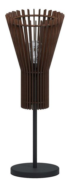 """Table Lamp w/ Matte nickel Finish & Dark Brown Wood Shade in Table Lamps, style - Contemporary, by Eglo, finish - Nickel, family - Atenza""""> Brown Wood, Dark Brown, Nickel Finish, Table Lamp, It Is Finished, Shades, Contemporary, Style, Swag"""