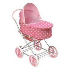 Badger Basket Polka Dots 3-in-1 Doll Pram Carrier And Stroller