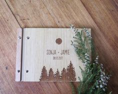 Wedding Guest Book. Wedding Album. Engraved Wood. Engagement Anniversary Gift. Bridal Shower   Forest Fir Tree by lorgie on Etsy https://www.etsy.com/listing/463693393/wedding-guest-book-wedding-album