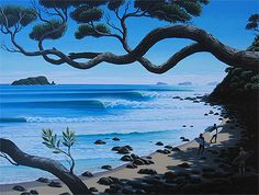 Showcase of surf art by New Zealand surf artist Tony Ogle on Club Of The Waves Nz Art, Art For Art Sake, Easy Paintings, Landscape Paintings, Surfboard Painting, Paradise Pictures, New Zealand Landscape, New Zealand Art, Maori Art