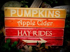 Wooden Fall Sign Pumpkins Hay Rides Cider by 2ChickDeSigns on Etsy, $40.00