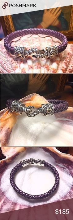 "JAI John Hardy Croco Collection Leather Bracelet JAI John Hardy From The Croco Collection Plum Purple Braided Leather Bracelet. 925 Silver & 14KT Gold, Hallmark. Good Condition. Size Small Up To 6 3/4"". JAI John Hardy Jewelry Bracelets"