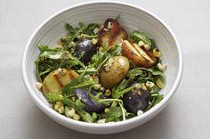 Warm Grilled Potato Salad with Arugula, Fresh Corn and Charred Scallion Dressing