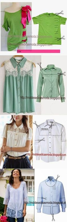 Upcycled men's shirts into women's by gwen