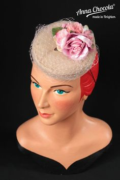 www.annachocola.com 1940s 50s PILLBOX HAT SILK nude pink taupe ROSE races fascinator PINUP Chocola