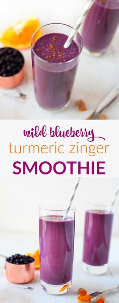 Wild Blueberry Turmeric Zinger Smoothie Sweet and spice and everything nice. This Wild Blueberry Turmeric Zinger Smoothie is packed with immune-boosting ingredients to keep you rockin and rollin all winter long. Smoothie Fruit, Turmeric Smoothie, Smoothie Detox, Apple Smoothies, Good Smoothies, Smoothie Drinks, Fruit Juice, Turmeric Detox Drink, Clean Smoothie