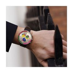 A modern British-designed men's chronograph watch. Stainless steel case with multicolour chronograph subdials in contemporary colour. Interchangeable multicoloured canvas and black leather straps. Latest Watches, Watches For Men, Men's Watches, Black Italians, New Launch, Stainless Steel Watch, British Style, Geneva, Italian Leather