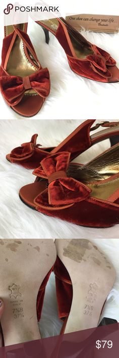 Velvet Red valentines sling back heels BCBG sz 7.5 Romantic and unworn. Stickers removed some finish from interior sole. BCBGMaxAzria Shoes Heels