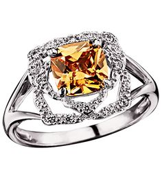 Avon Sterling Silver Fancy Peach CZ Ring Now on Sale! Sterling Silver Avon rings are high quality fine jewelry at discounted prices. See the Avon ring collection featuring diamonds and semiprecious stones at ThinkBeautyToday.com #AvonSterlingSilver