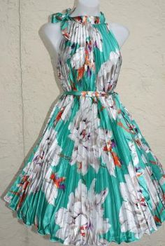 The PINUP IN AQUA de FLEUR Retro 50s 60s Belted Pleat Frock Satin Dress XS-2X ( tooo cute love it )