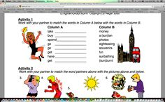 1/5 lesson plan. This is a lesson plan where the ELL students match Column A to Column B. This lesson provides vocabulary, visuals, and content.