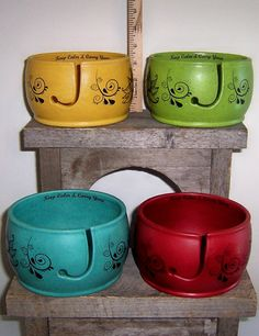 How cute are these, Dana and Kim!!!!   Large Yarn Bowl  your choice Plain or ZEN   by ClayCityPottery, $20.00