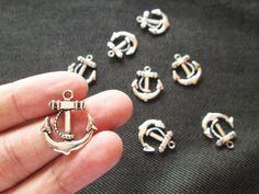 Ships Anchor Charm, 8 Pcs, Anchor Charms, Silver Metal Charms, Tibetan Charms, Nautical Charms CT - 0158