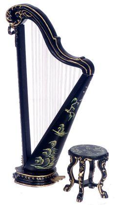 Dollhouse Miniature Platinum Collection Black Harp with Stool