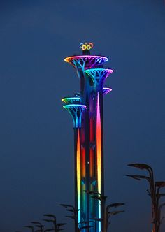 #RIO2016 The new Olympic rings symbol on the Beijing Olympic Tower lights up for the first time on June 12, 2016 in Beijing, China. The 18-meter high rotating Olympic rings symbol is installed on the tallest tower of the Beijing Olympic Tower. The inauguration ceremony for the symbol was held at the Beijing Olympic Park earlier that day. After Montreal, Beijing is the second city with an independent and permanent Olympic rings symbol installation.