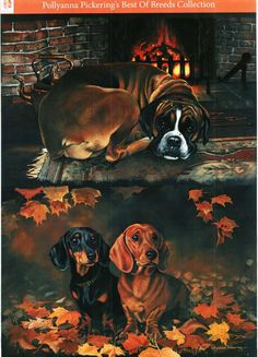 Pollyanna Pickering Best of Breed traditional decoupage - Dogs #6 - boxer, dachshund