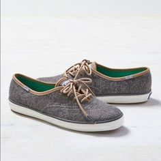 Wool Grey keds with leather trim Only worn a handful of times! keds Shoes Sneakers