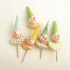 Vintage Picks Spun Cotton Clown Elf Cupcake