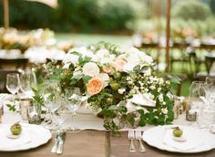 #gardenrose #peach #centerpiece | Photography by sylviegilphotography.com, Florals by http://www.maxgilldesign.com, Design and Styling by http://www.rebeccareategui.com  Read more - http://www.stylemepretty.com/2013/09/12/santa-rosa-wedding-from-sylvie-gil-photography/