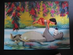 Vintage Old Walt Disney 3 D Postcard, Mowgli and Baloo years 70...