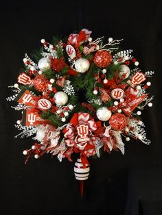 Attention Indiana University Fans...an incredible lighted wreath to celebrate your favorite school, adorned with IU ornaments. Go Hoosiers!