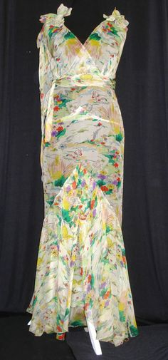 VINTAGE 1920's 1930's ART DECO SHEER SILK CHIFFON FLORAL LONG DRESS GOWN