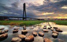 water landscapes cityscapes grass stones bridges 2560x1600 wallpaper