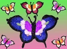Der große Schmetterling ist ein recht flatterhafter Geselle..aber einfach nach zu machen...hier finden alle  Wollereste eine neue Bestimmung! Ich benutze hier die Bast -Wolle von Adriafil Verpasse keine Anleitung mehr und abonniere gerne meine Shop!