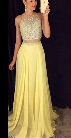 Yellow long prom dress,elegant A-line 2 pieces long prom gown,graduation dress,formal dress Prom Dresses 2017, Long Prom Gowns, Prom Party Dresses, Evening Dresses, Dress Party, Wedding Dresses, Stunning Prom Dresses, Elegant Dresses, Sexy Dresses