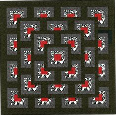 Red, Black, White/EXPEDITED SHIPPING: Easy Boxed Maze kit, X ready to sew pattern and instructions included. Precut Dye cut to precision. Ready to make your next project. Log Cabin Quilt Pattern, Log Cabin Quilts, Jelly Roll Quilt Patterns, Star Quilt Patterns, Big Block Quilts, Quilt Blocks, Star Quilts, Optical Illusion Quilts, Black And White Quilts