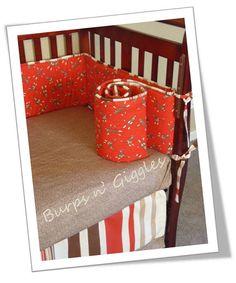 Sock Monkey designer crib nursery bedding.  Made to order.  Baby boy, baby girl