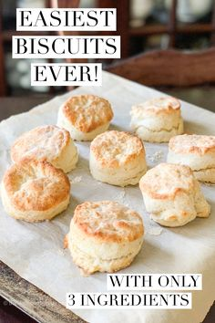 These quick and easy biscuits have only 3 ingredients and are ready in under 20 . - These quick and easy biscuits have only 3 ingredients and are ready in under 20 minutes! Easy Biscuit Recipe 3 Ingredients, Quick Biscuit Recipe, Quick Biscuits, Homemade Biscuits Recipe, Easy Biscuit Recipes, Easy Buttermilk Biscuits, Biscuits From Scratch, Healthy Biscuits, How To Make Biscuits