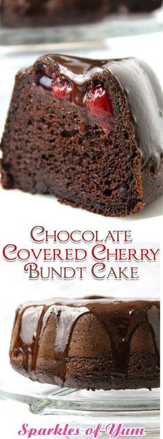 Chocolate Covered Cherry Bundt Cake Recipe - - Chocolate Covered Cherry Bundt Cake Recipe Desserts So easy and oh so decadent. You won't even believe how very moist, rich and delicious this Chocolate Covered Cherry Bundt Cake is! Chocolate Cake Mixes, Chocolate Recipes, Chocolate Cupcakes, Chocolate Cherry Cake, Chocolate Muffins, Chocolate Chocolate, Chocolate Martini, Dessert Chocolate, Delicious Chocolate