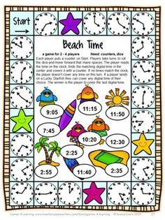 Time game from End of Year Math Games Second Grade by Games 4 Learning - This collection of end of year games contains 14 printable games that review a variety of second grade skills. $