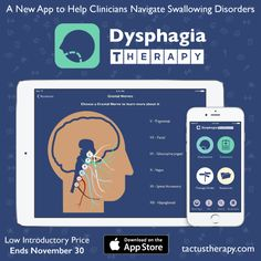 We are very excited to announce a brand new app called Dysphagia Therapy to help clinicians navigate their options for managing and rehabilitating swallowing disorders. Dysphagia Therapy, available now for iPhone and iPad, will quickly become an indispensable tool for speech-language pathologists helping adults overcome disorders of deglutition.