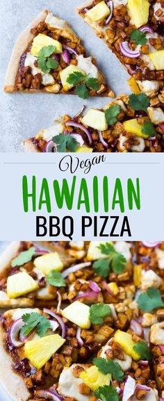 This Hawaiian BBQ Vegan Pizza has tasty barbecue tofu pieces, fresh pineapple, homemade vegan mozzarella cheese and more! #vegan #plantbased #dairyfree