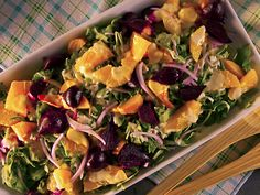 Roasted Beet Salad with Oranges and Creamy Goat Cheese Dressing Recipe : Food Network - FoodNetwork.com