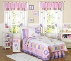 Kids Butterfly Bedding Pink Purple Lavender Twin Full/Queen Comforter Sets Girls Bed in a Bag