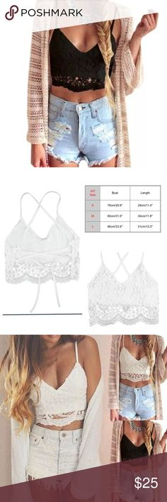 SUBMIT OFFERSNWT black lace bralette/crop top PLEASE ASK WHAT SIZE YOU SHOULD BUY BEFORE PURCHASING listing is for the black one  can fit up to a 34C, depending on wether you will wear a bra or not.  straps tie in the back and they can be adjusted to your desired fit.  OFFERS THROUGH OFFER BUTTON  30% off bundles of 2+ Material:Lace,Polyester, Sleeve Style:Sleeveless  not brandy just for visibility  ❌NO TRADES Brandy Melville Tops Crop Tops
