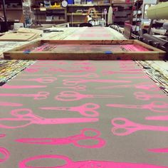 It's a great day for neon pink scissors!  #handprinted #screenprinting #textiles #surfacedesign #scissors #neon #pink #makersgonnamake #design #behindthescenes #maderighthere #madeinportland #portlandmade #portland