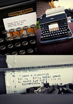 typewriter guest book - and other cute typewriter wedding stuff