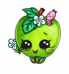 Apple Blossom Cute Food Drawings, Cute Kawaii Drawings, Amazing Drawings, Doodle Drawings, Easy Drawings, Doodle Art, Kawaii Doodles, Kawaii Chibi, Kawaii Art