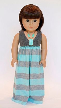 American girl doll Salina maxi dress - Grey and turquoise stripes
